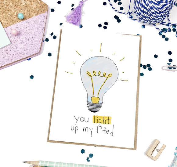 Light up my Life, Light Bulb- A2 Greeting Card