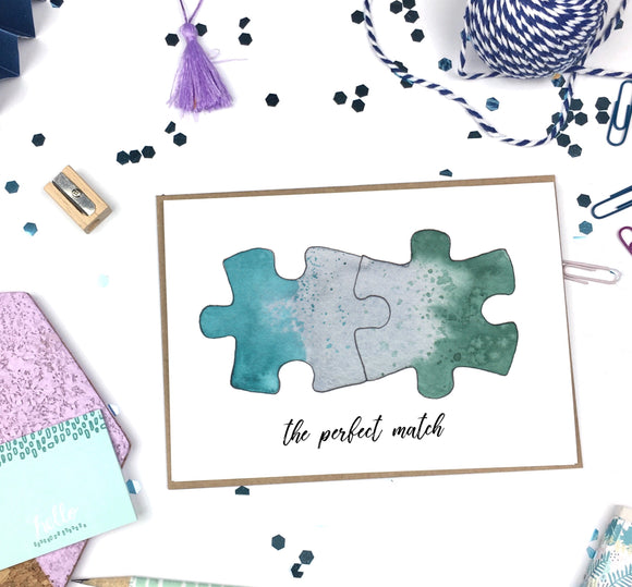 Perfect Match, Puzzle Pieces- A2 Greeting Card