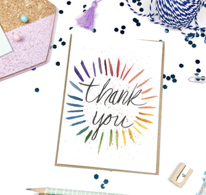 Thank You, Rainbow Burst- A2 Greeting Card