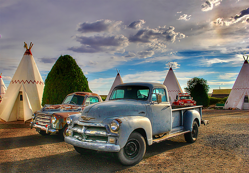 Parked at the Wigwams, a Chevy and Studebaker truck at the Wigwam Hotel in Arizona, Route 66