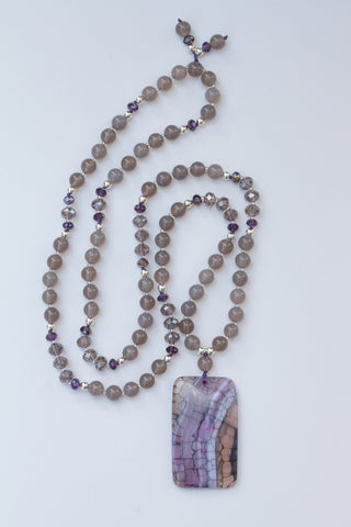 purple and grey dragon vein agate pendant necklace