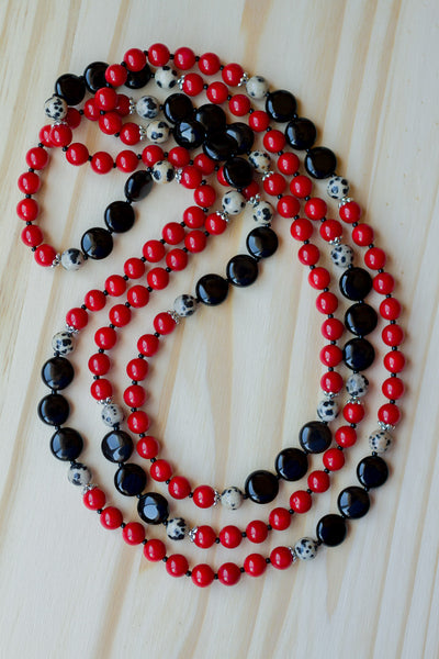 "60"" Long Red Coral Multi-Wrap Necklace with Black Onyx & Dalmation Jasper Beads"