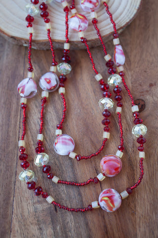 "60"" Long Red, Yellow & White Glass & Crystal Beaded Necklace"
