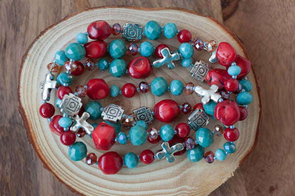 "35"" Southwestern Coral, Turquoise & Silver Necklace"