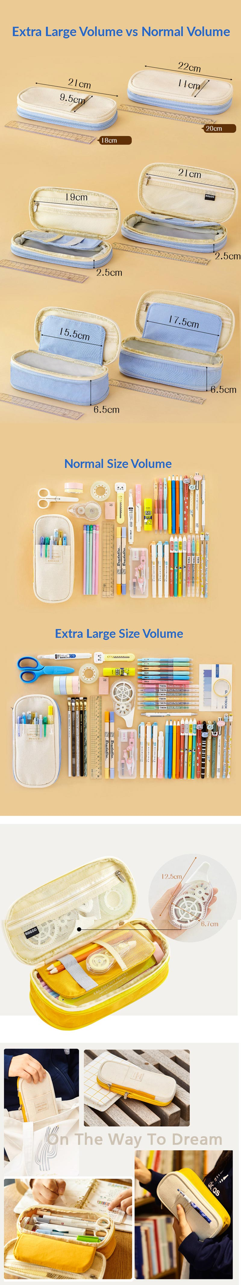 Canvas Zippered Large Foldable Pencil Case - Extra Large