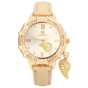 Leaves Tower Rhinestone Pendant Leather Wrist Watch