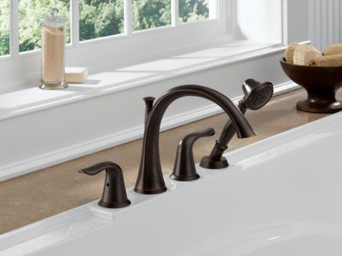 DELTA T4738-RB VENETIAN BRONZE LAHARA 4 HOLE DECK MOUNT LEVER HANDLE BATHTUB TRIM WITH HANDSHOWER ADA
