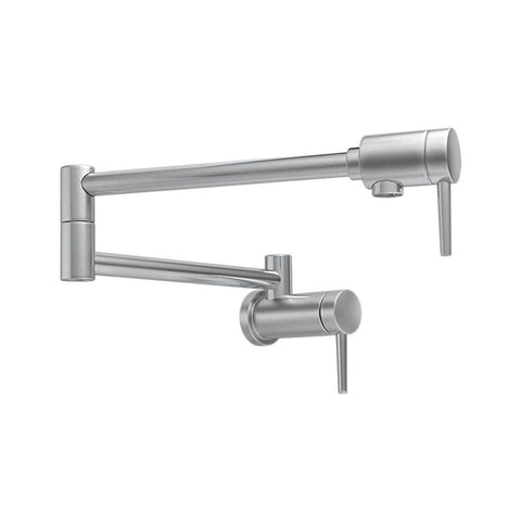 DELTA 1165LF-SS STAINLESS CONTEMPORARY 1 HOLE WALL MOUNT 2 LEVER HANDLE KITCHEN POT FILLER LEAD FREE
