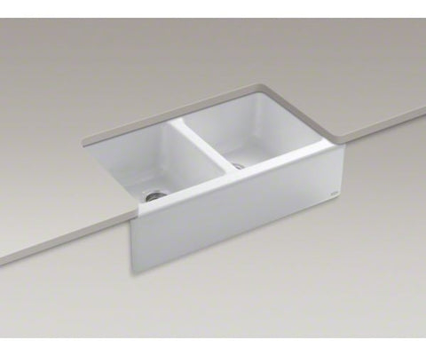 KOHLER K-6534-4U-0 WHITE CAST IRON HAWTHORNE 33X221/8X8 4 HOLE UNDERMOUNT APRON FRONT DOUBLE BOWL KITCHEN SINK