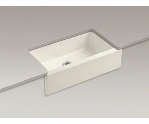 KOHLER K-6546-4U-96 BISCUIT CAST IRON DICKINSON 33X221/8X8 4 HOLE UNDERMOUNT SINGLE BOWL KITCHEN SINK