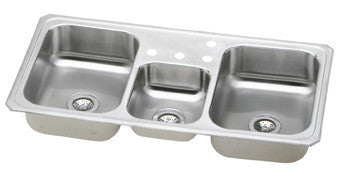 ELKAY CMR43224 BRUSHED SATIN FINISH 20 GAUGE STAINLESS STEEL GOURMET 43X227X51/8X7 4 HOLE SELF-RIMMING TRIPLE BOWL KITCHEN SINK