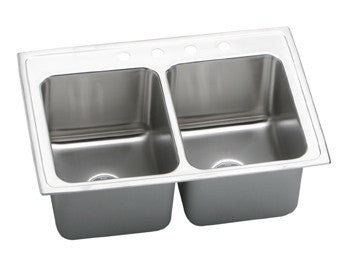 ELKAY DLR3322104 HIGHLIGHTED SATIN FINISH 18 GAUGE STAINLESS STEEL GOURMET 33X22X101/8 4 HOLE SELF-RIMMING DOUBLE BOWL KITCHEN SINK