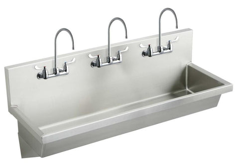 ELKAY EWMA7220C SATIN FINISH 14 GAUGE STAINLESS STEEL COMMERCIAL 72X20 6 HOLE WALL MOUNT 3 STATION LAVATORY BASIN PACKAGE WITH (3) LK940GN05T4H FAUCETS AND LK18B DRAIN