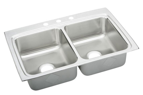 ELKAY LRAD3322653 HIGHLIGHTED SATIN FINISH 18 GAUGE STAINLESS STEEL GOURMET 33X22X61/2 3 HOLE SELF-RIMMING DOUBLE BOWL KITCHEN SINK ADA