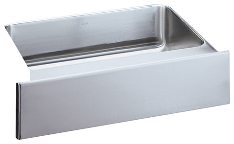 ELKAY ELUHFS2816 HIGHLIGHTED SATIN FINISH 18 GAUGE STAINLESS STEEL GOURMET 28X16X77/8 UNDERMOUNT APRON FRONT SINGLE BOWL KITCHEN SINK