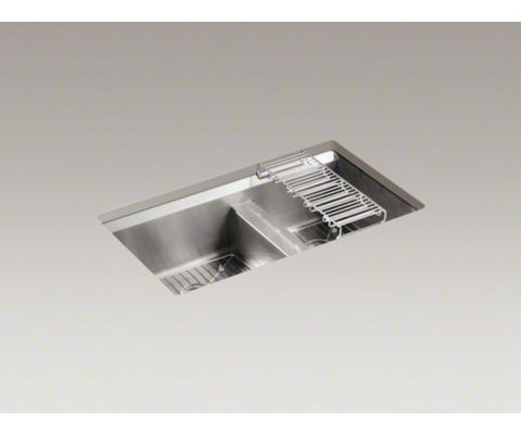 KOHLER K-3672-NA BRUSHED FINISH 16 GAUGE STAINLESS STEEL 8 DEGREE 31X161/2X93/4 UNDERMOUNT DOUBLE BOWL KITCHEN SINK