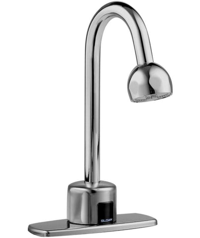 SLOAN 3315172 EBF750-H-4-BDM POLISHED CHROME OPTIMA PLUS DECK MOUNT 4 CENTERSET GOOSENECK LAVATORY FAUCET WITH 2.2 GALLONS PER MINUTE SHOWER SPRAY HEAD BELOW DECK MECHANICAL MIXING VALVE BATTERY POWERED SENSOR ACTIVATED ADA COMPLIANT LEAD FREE