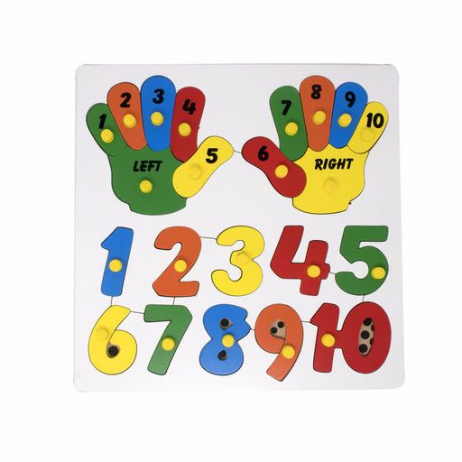 Hands Counting peg puzzle with numbers 1-10