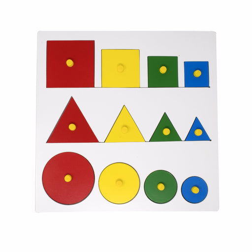 Geometric Shape and Size Puzzle with knob