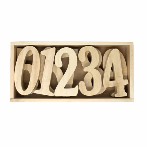 Numbers (0-9) in Wooden box