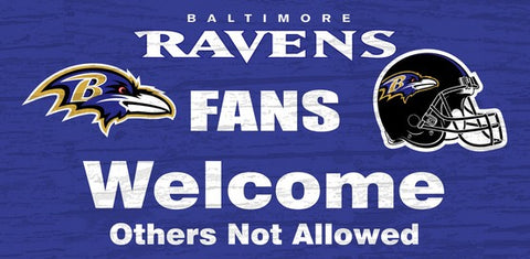 Baltimore Ravens Fans Welcome Wooden Sign