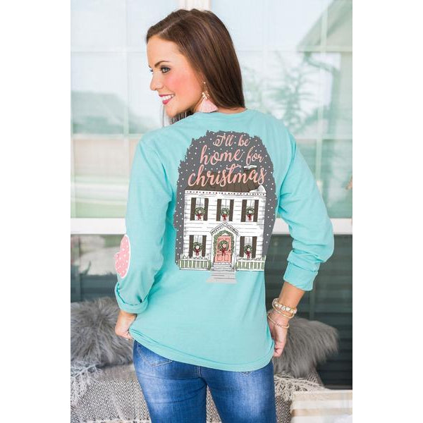 Gameday Couture Home For The Holidays Elbow Patch Shirt-Southern Ivy Boutique