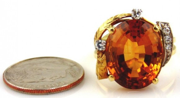 Citrine & Diamonds Ring 18kt Two-tone Gold by Jewelry - Seaside Art Gallery