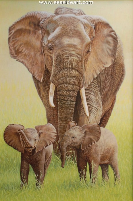Mother & Twins-Elephants by Beverly Abbott - Seaside Art Gallery