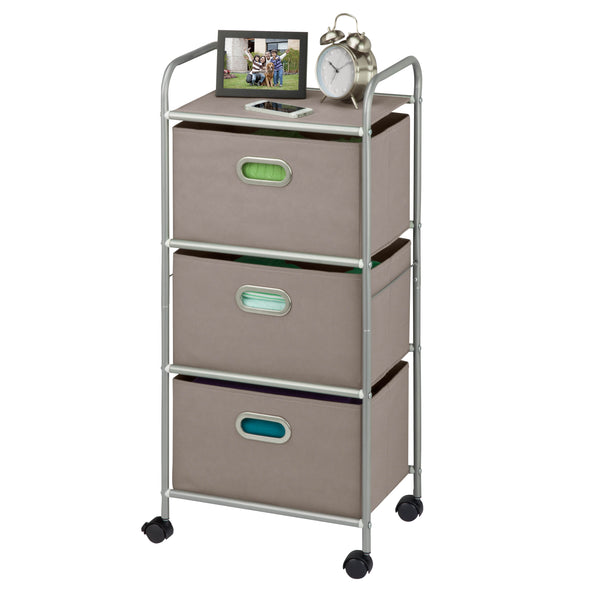 3-Drawer Rolling Fabric Cart, Gray