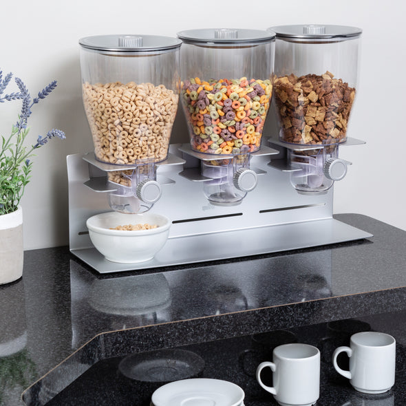 Triple Canister Commercial Dry Food and Cereal Dispenser, Stainless Steel