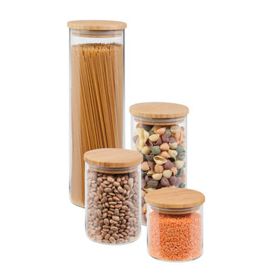 4-Piece Glass Jar Storage Set, Bamboo Lids - honeycando.com