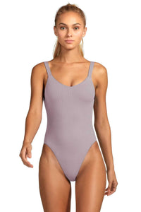 Light Purple Ribbed Low Cut Back One-Piece Bathing Suit