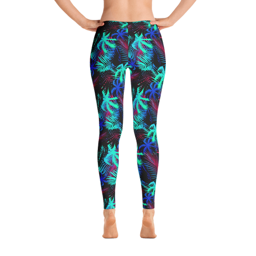 Hawaiian Tropical Palm Tree and Fern Long Yoga Leggings - 9 Colors Available
