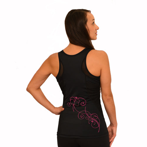 Mesh black yoga top with pink hibiscus design
