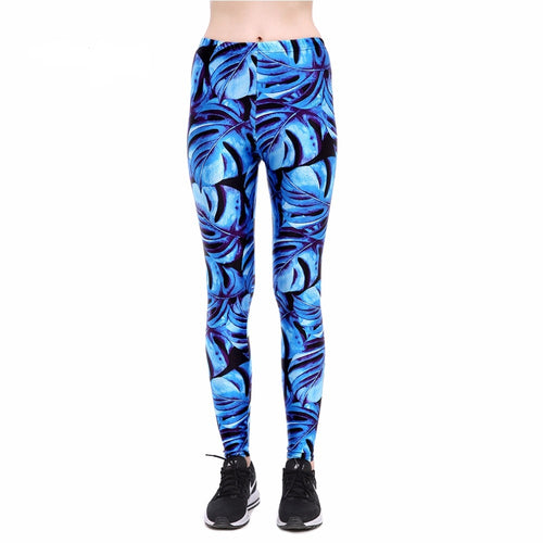Bright Blue Monstera Leaf Long Yoga Pants / Leggings