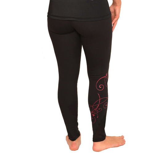 black Hawaiian pink hibiscus long leggings with mesh detail