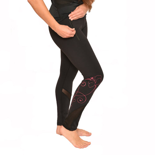 Hawaiian hot pink hibiscus long leggings with zippered pockets