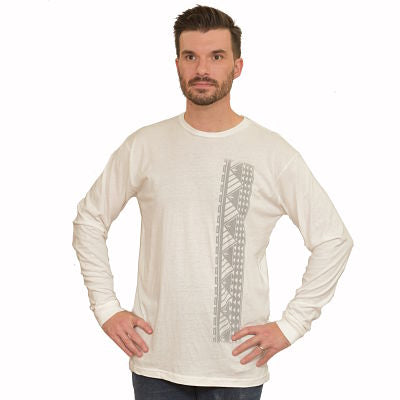 Men's long sleeve shirt with Samoan tattoo print white