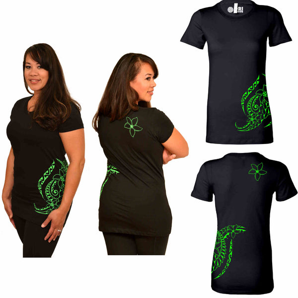 Black and Green Plumeria tattoo print Polynesian t-shirt