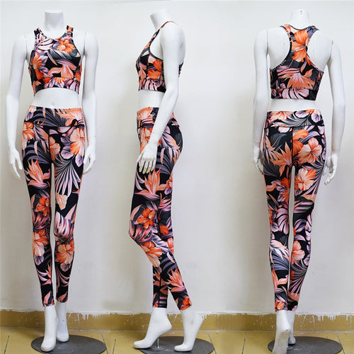 Orange and Black Hibiscus and Fern Yoga Set - Yoga Racerback Halter Top & Long Leggings