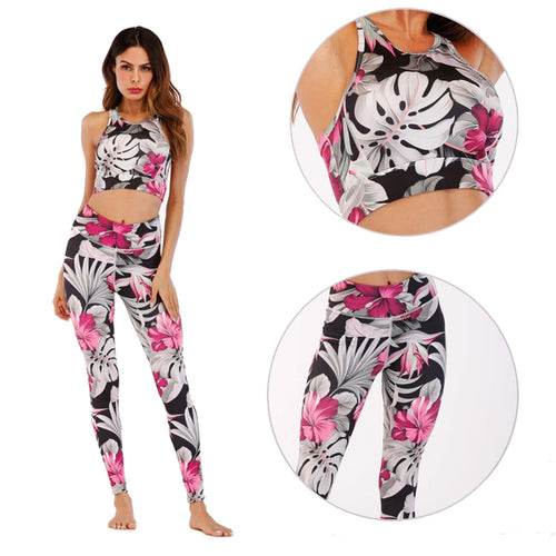 Pink and Black Hibiscus and Fern Yoga Set - Yoga Racerback Halter Top & Long Leggings