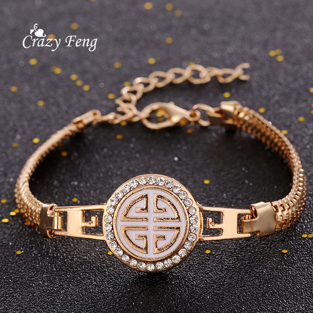 Charm Bracelet Gold-color Chain Bracelet For Women Round Hollow Crystal Braclets Bangles Fashion Jewelry Adjustable