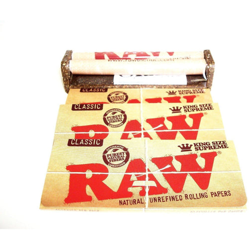 Weavs Supplies Raw Rolling Machine 110mm with 3 Packs of Raw Classic Rolling Papers King Size