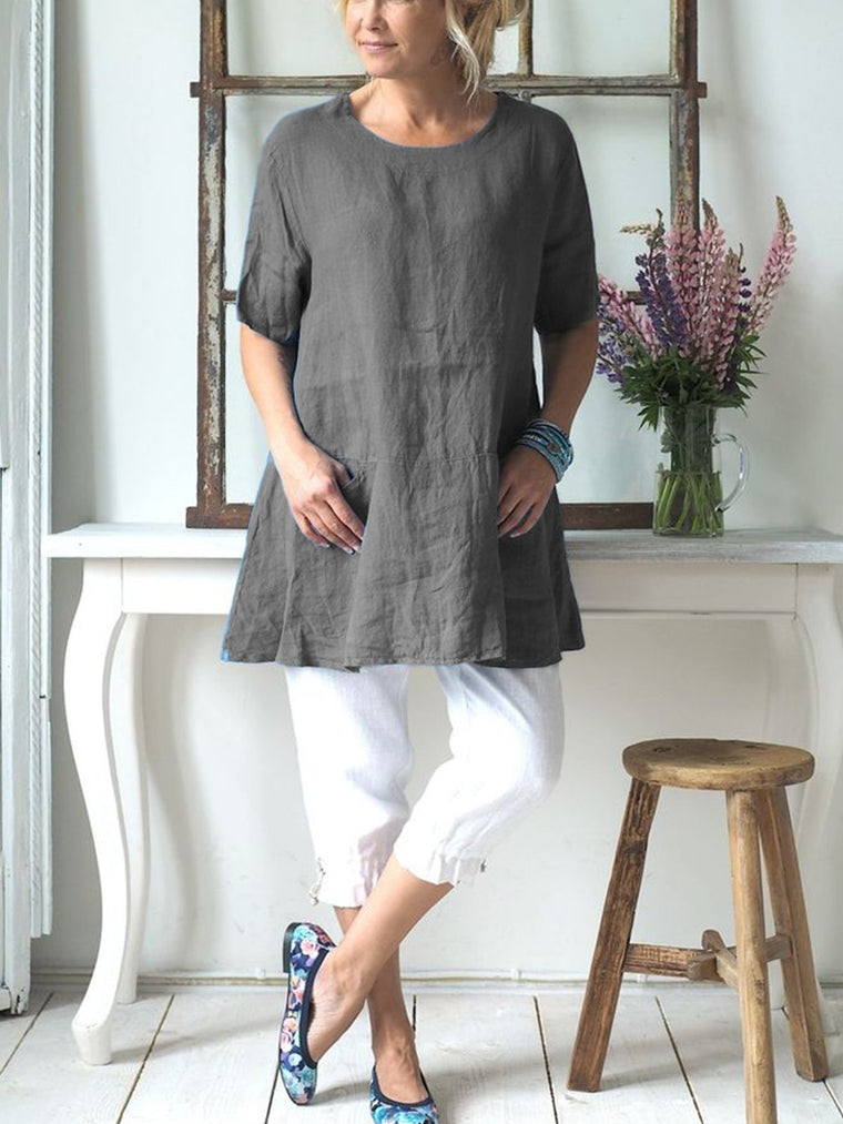Crew Neck Short Sleeve Casual Linen Shirts & Tops