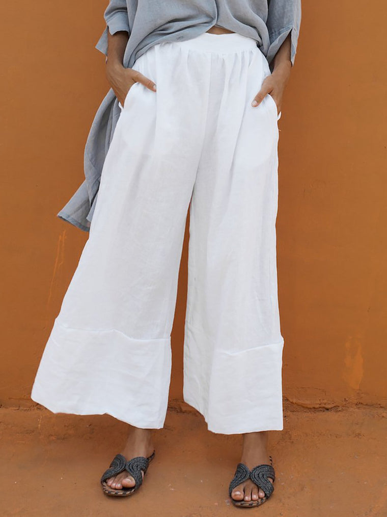 Women Plus Size Solid Casual Wide Leg Linen Pants