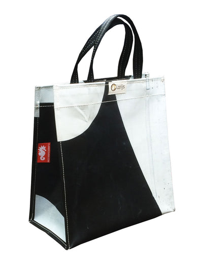Shopper recycled zwart/wit