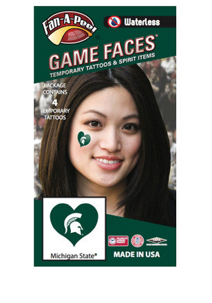 MSU Waterless Face Tattoos - Sparty Heart