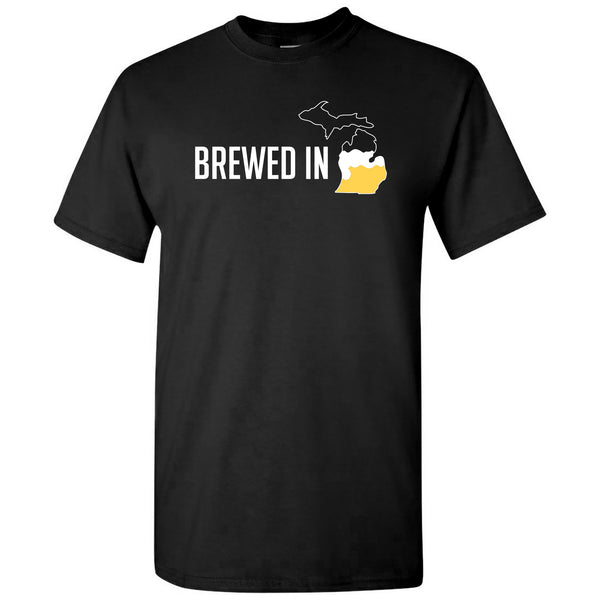 Brewed In Michigan T-shirt - Black