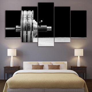 5 Piece Weightlifting In Black Bodybuilding Canvas Wall Art Paintings - It Make Your Day