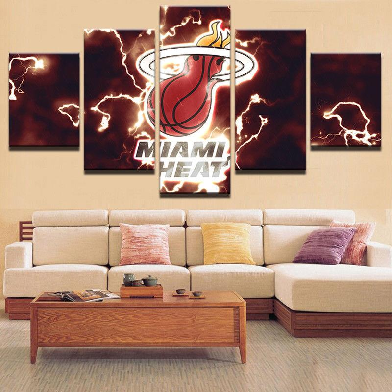 5 Piece Miami Heat Basketball Canvas Painting Wall Art - It Make Your Day